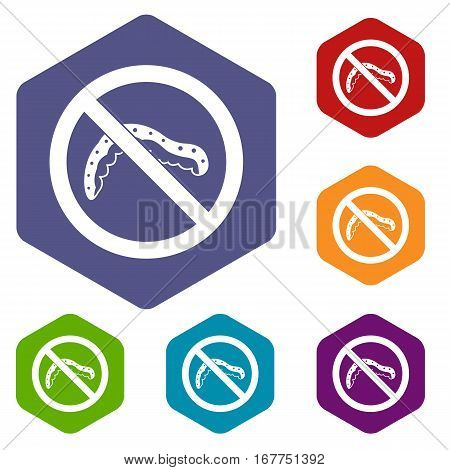 No caterpillar sign icons set rhombus in different colors isolated on white background