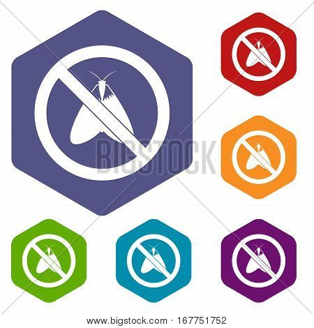 No moth sign icons set rhombus in different colors isolated on white background