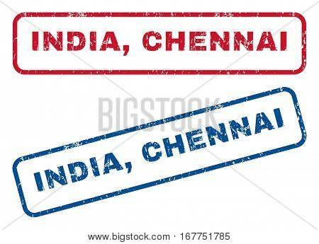 India, Chennai text rubber seal stamp watermarks. Vector style is blue and red ink caption inside rounded rectangular shape. Grunge design and dust texture. Blue and red emblems.
