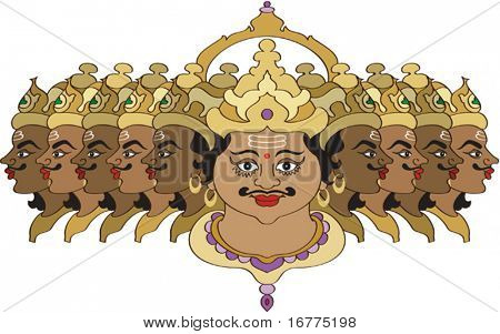 Ravana is depicted in art with up to ten heads, signifying his study of the Vedas and Shastras. Ravana was great scholar and master of many arts. He was the master of 64 categories of knowledge.