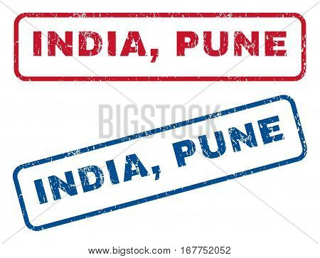 India, Pune text rubber seal stamp watermarks. Vector style is blue and red ink caption inside rounded rectangular banner. Grunge design and dust texture. Blue and red emblems.