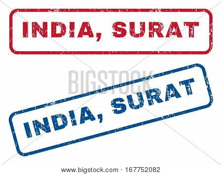 India, Surat text rubber seal stamp watermarks. Vector style is blue and red ink tag inside rounded rectangular banner. Grunge design and dust texture. Blue and red stickers.