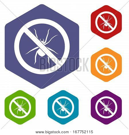 No spider sign icons set rhombus in different colors isolated on white background