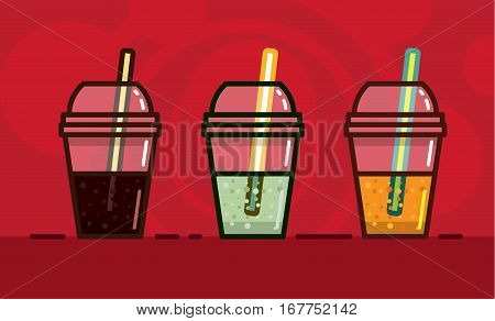 vector illustration in kawaii style carbonated soft drinks a different taste and light in glasses with straws on a bright red background.