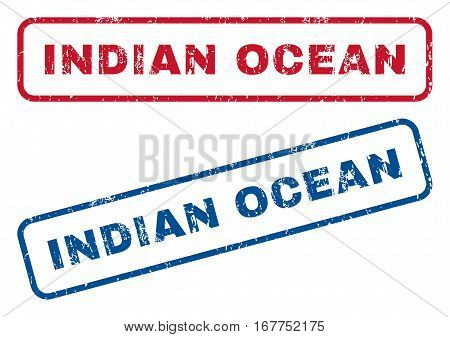 Indian Ocean text rubber seal stamp watermarks. Vector style is blue and red ink tag inside rounded rectangular banner. Grunge design and dirty texture. Blue and red stickers.