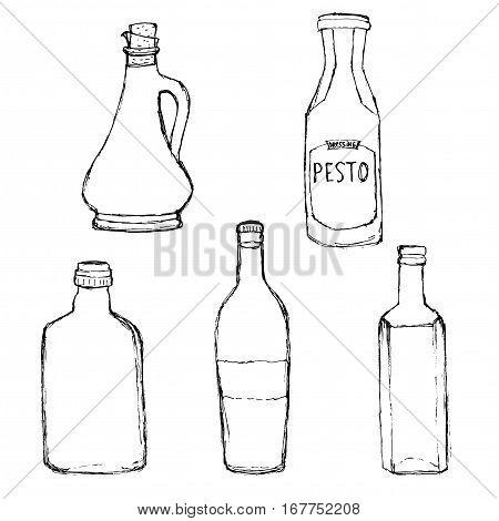 Various Bottles. Olive oil bottle, pesto dressing bottle, home wine bottle. Hand drawn grunge vector set.
