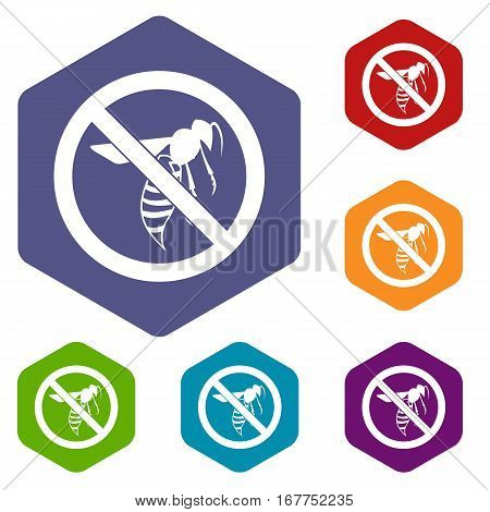 No wasp sign icons set rhombus in different colors isolated on white background