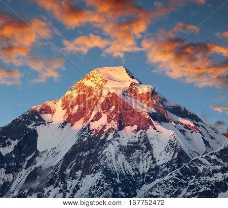 Mount Dhaulagiri evening sunset view of mount Dhaulagiri Himalayas Nepal