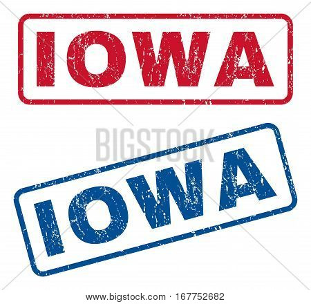 Iowa text rubber seal stamp watermarks. Vector style is blue and red ink caption inside rounded rectangular shape. Grunge design and dust texture. Blue and red stickers.