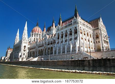 View of building of the Parliament in Budapest Hungary