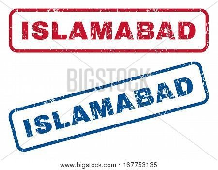 Islamabad text rubber seal stamp watermarks. Vector style is blue and red ink tag inside rounded rectangular shape. Grunge design and dust texture. Blue and red emblems.