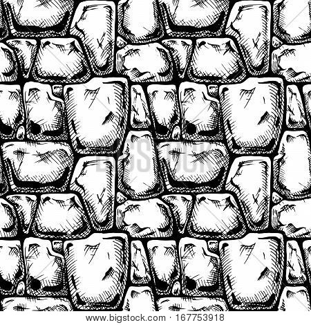 Twelve angle stone. Seamless black and white pattern of grunge stone wall. Vector illustration texture in ink hand drawn style.