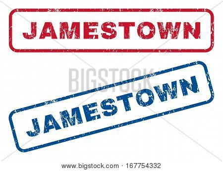 Jamestown text rubber seal stamp watermarks. Vector style is blue and red ink tag inside rounded rectangular shape. Grunge design and dirty texture. Blue and red stickers.