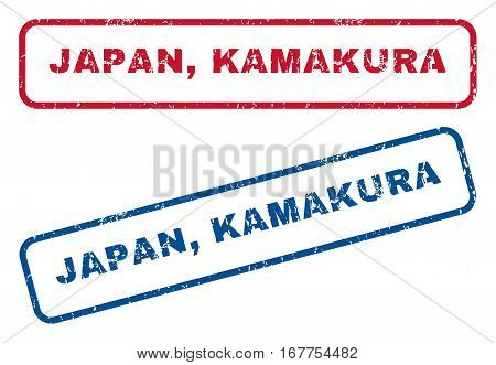 Japan, Kamakura text rubber seal stamp watermarks. Vector style is blue and red ink tag inside rounded rectangular banner. Grunge design and dirty texture. Blue and red stickers.