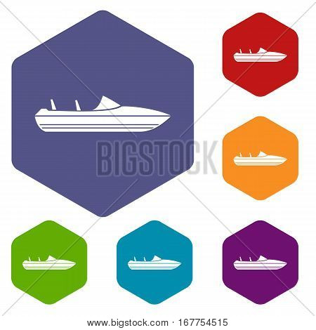 Little powerboat icons set rhombus in different colors isolated on white background