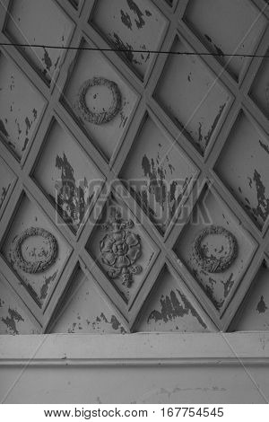Fragment of inner decoration of ark in old soviet building of 50th