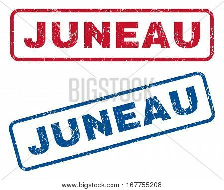Juneau text rubber seal stamp watermarks. Vector style is blue and red ink tag inside rounded rectangular shape. Grunge design and dirty texture. Blue and red stickers.