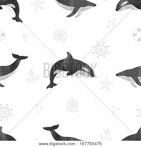 Whales seamless pattern. Vector black and white background with fin and killer whales.