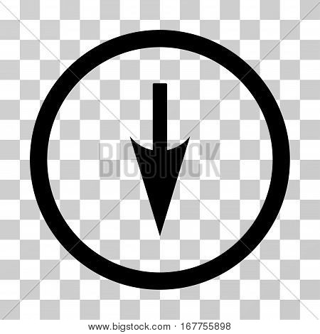 Sharp Down Arrow rounded icon. Vector illustration style is flat iconic symbol inside a circle, black color, transparent background. Designed for web and software interfaces.