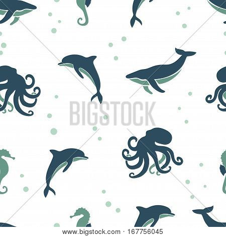 Seamless sea animals pattern. Vector background with whale dolphin octopus seahorse.