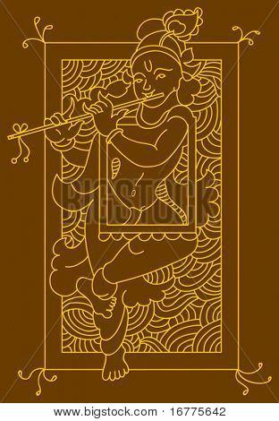 Krishna Folk tribal design motif, main character of India epic mahabharata