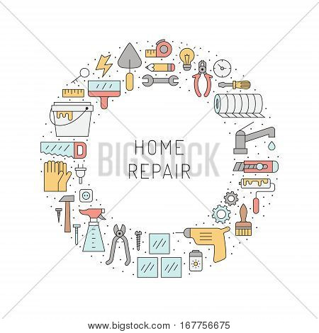 Home repair and construction outline multicolored circle vector frame. Clean and simple design.