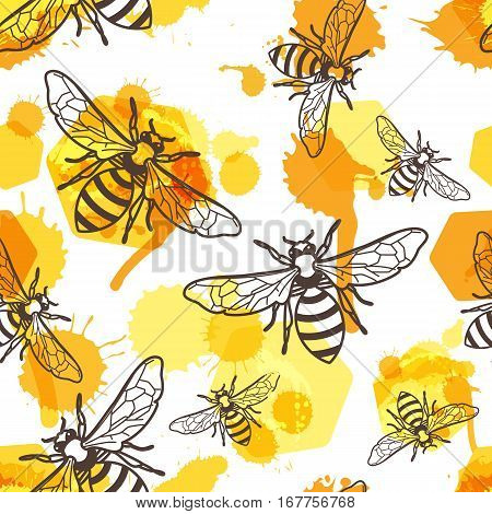 Vector Seamless Pattern With Linear Bee, Liquid Honey And Watercolor Honeycombs. Organic Honey Backg