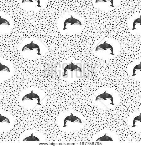 Seamless pattern with killer whales. Vector black and white background.