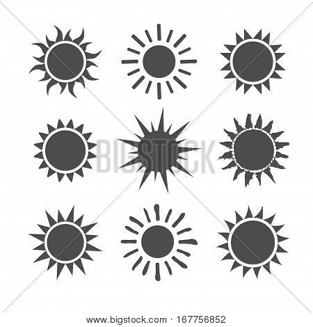 Gray sun icon set isolated on white background. Modern simple flat sunlight, sign. Trendy vector summer symbol for website design, web button, mobile app. Stock illustration