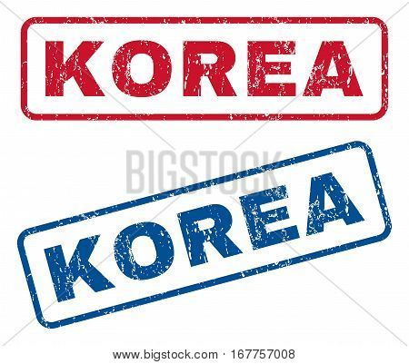 Korea text rubber seal stamp watermarks. Vector style is blue and red ink caption inside rounded rectangular banner. Grunge design and scratched texture. Blue and red stickers.