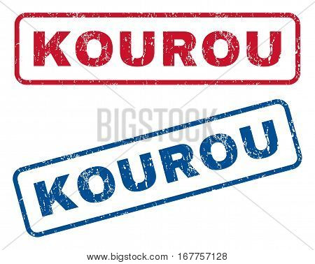 Kourou text rubber seal stamp watermarks. Vector style is blue and red ink tag inside rounded rectangular banner. Grunge design and scratched texture. Blue and red emblems.