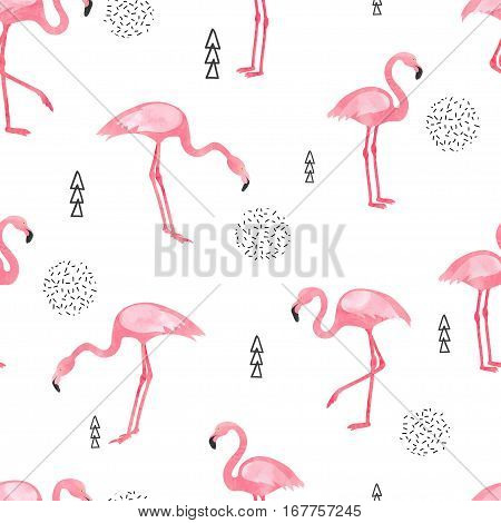 Flamingo seamless pattern. Vector background design with flamingos for wallpaper fabric textile.