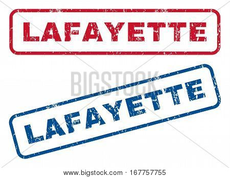 Lafayette text rubber seal stamp watermarks. Vector style is blue and red ink tag inside rounded rectangular shape. Grunge design and dust texture. Blue and red stickers.