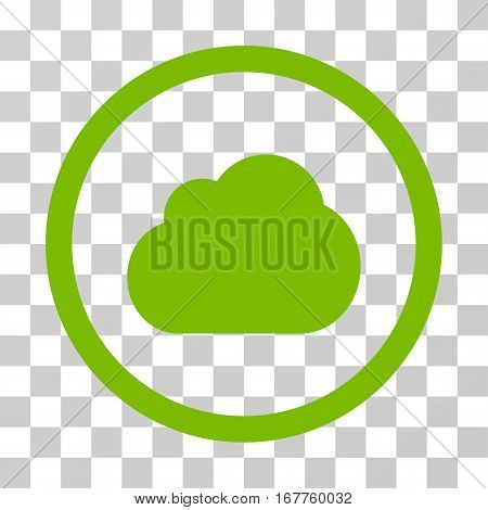 Cloud rounded icon. Vector illustration style is flat iconic symbol inside a circle, eco green color, transparent background. Designed for web and software interfaces.