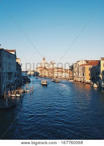 Grand Canal and Basilica Santa Maria della Salute, Venice, Italy and sunny day 1