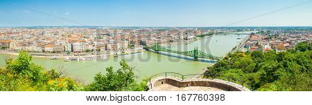 Budapest, Hungary - June 15, 2016: Panoramic View Of Dunabe River With Well-known Liberty Bridge Con