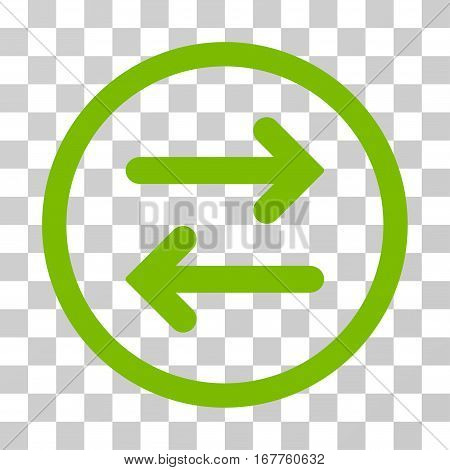 Flip Horizontal rounded icon. Vector illustration style is flat iconic symbol inside a circle, eco green color, transparent background. Designed for web and software interfaces.