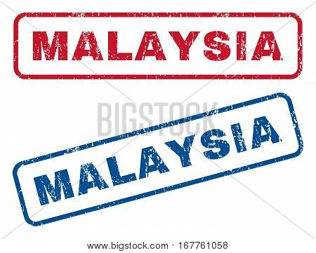 Malaysia text rubber seal stamp watermarks. Vector style is blue and red ink caption inside rounded rectangular shape. Grunge design and unclean texture. Blue and red stickers.