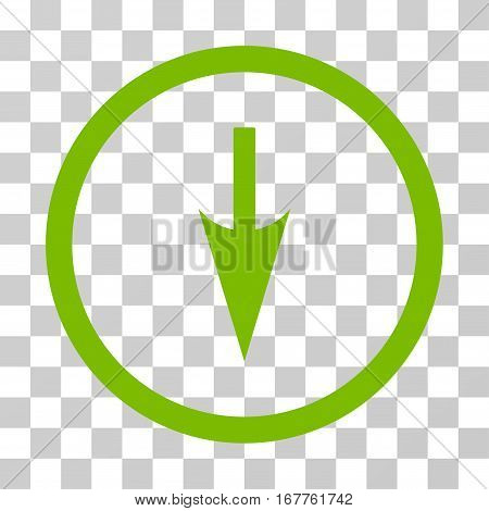 Sharp Down Arrow rounded icon. Vector illustration style is flat iconic symbol inside a circle, eco green color, transparent background. Designed for web and software interfaces.