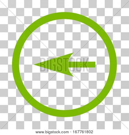 Sharp Left Arrow rounded icon. Vector illustration style is flat iconic symbol inside a circle, eco green color, transparent background. Designed for web and software interfaces.