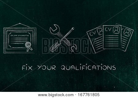 Fixing Your Expertise, Diploma With Wrench & Screwdriver