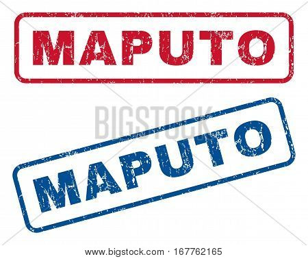 Maputo text rubber seal stamp watermarks. Vector style is blue and red ink caption inside rounded rectangular banner. Grunge design and dirty texture. Blue and red emblems.