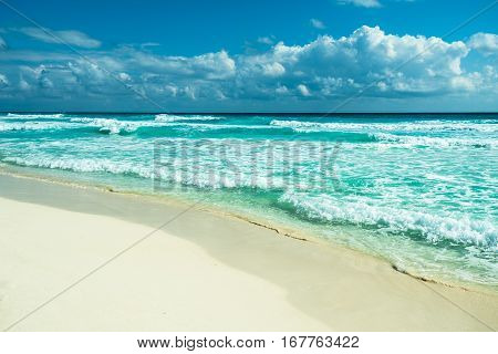 Highly detailed image of Cancun beach panorama Mexico