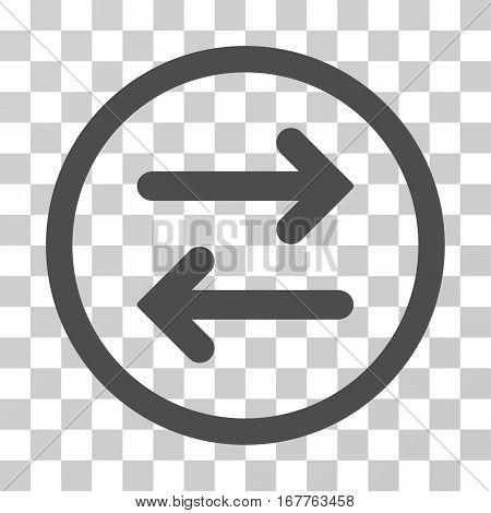 Flip Horizontal rounded icon. Vector illustration style is flat iconic symbol inside a circle, gray color, transparent background. Designed for web and software interfaces.