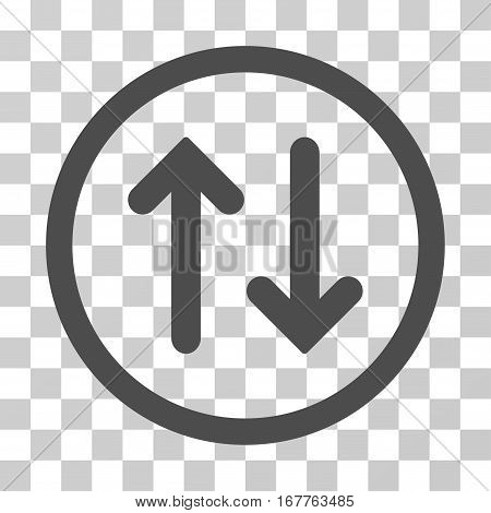 Flip rounded icon. Vector illustration style is flat iconic symbol inside a circle, gray color, transparent background. Designed for web and software interfaces.
