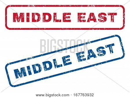 Middle East text rubber seal stamp watermarks. Vector style is blue and red ink caption inside rounded rectangular banner. Grunge design and dust texture. Blue and red signs.
