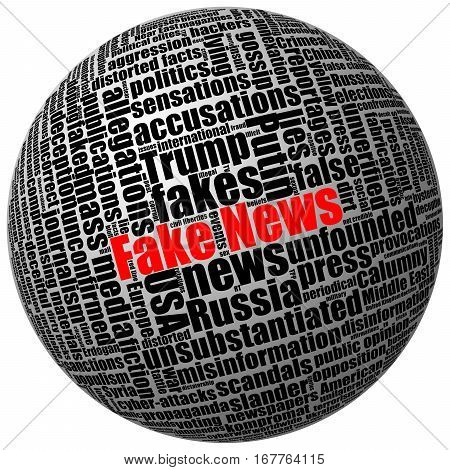 Fake news and other trumped publications in press and mass media. Tag word cloud 3D sphere isolated on white.