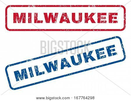 Milwaukee text rubber seal stamp watermarks. Vector style is blue and red ink caption inside rounded rectangular banner. Grunge design and scratched texture. Blue and red emblems.