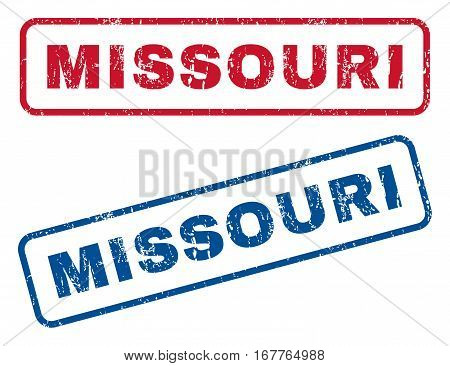 Missouri text rubber seal stamp watermarks. Vector style is blue and red ink tag inside rounded rectangular banner. Grunge design and dust texture. Blue and red signs.