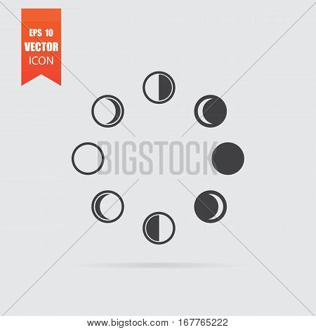 Moon Phases Icon In Flat Style Isolated On Grey Background.